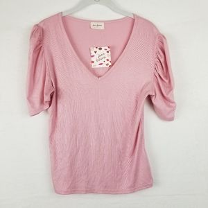 FREE KISSES BLOUSE Puff Sleeves Pink, Size XL